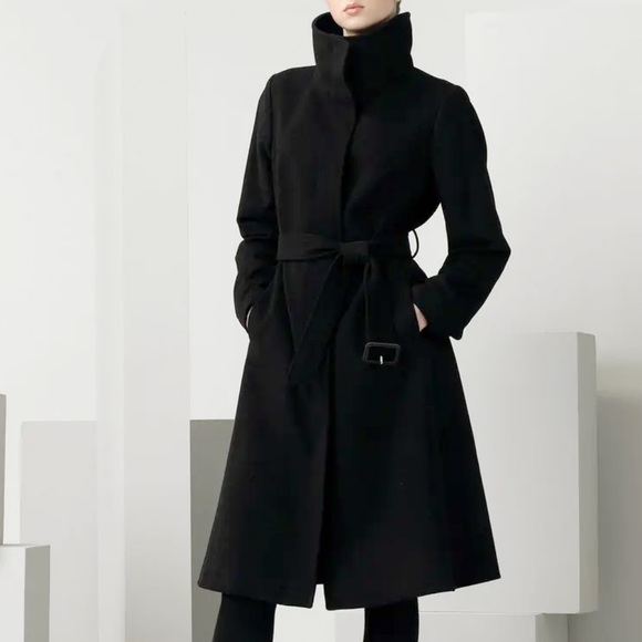 Burberry Funnel Collar Wool & Cashmere Blend Coat